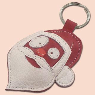 Santa Claus Leather Keychain