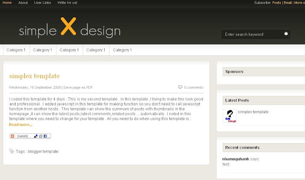 Simplex templates screenshot