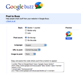 posttobuzz How to add Official Google Buzz Button to your blog