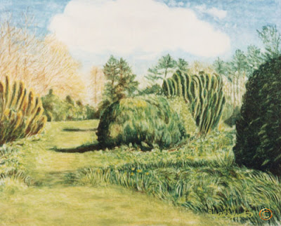 Poole Wood Grey Towers Nunthorpe painting in oil pastel by Ingrid Sylvestre North East artist Durham artists UK