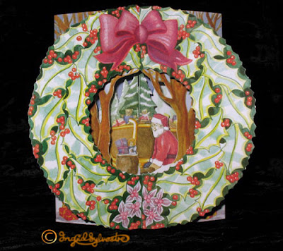 3D Pop up Christmas Cards by UK Artist Ingrid Sylvestre Printed on quality card and die cut to fully pop up - Santa Sleigh