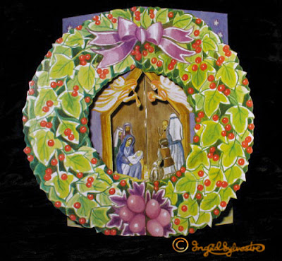 3D Pop up Christmas Cards by UK Artist Ingrid Sylvestre Printed on quality card and die cut to fully pop up - Nativity Wreath