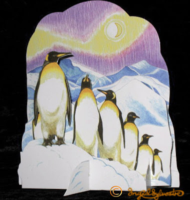 3D Pop up Christmas Cards by UK Artist Ingrid Sylvestre Printed on quality card and die cut to fully pop up - Penguins