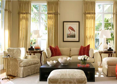 Joy of decor ivory sofa red pillows room with a splash for Ivory couch living room ideas