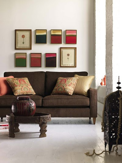 Joy Of Decor: Decorate around Brown Sofa with Peach and ...