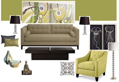 Room Design Idea: Green Walls - Taupe Sofa