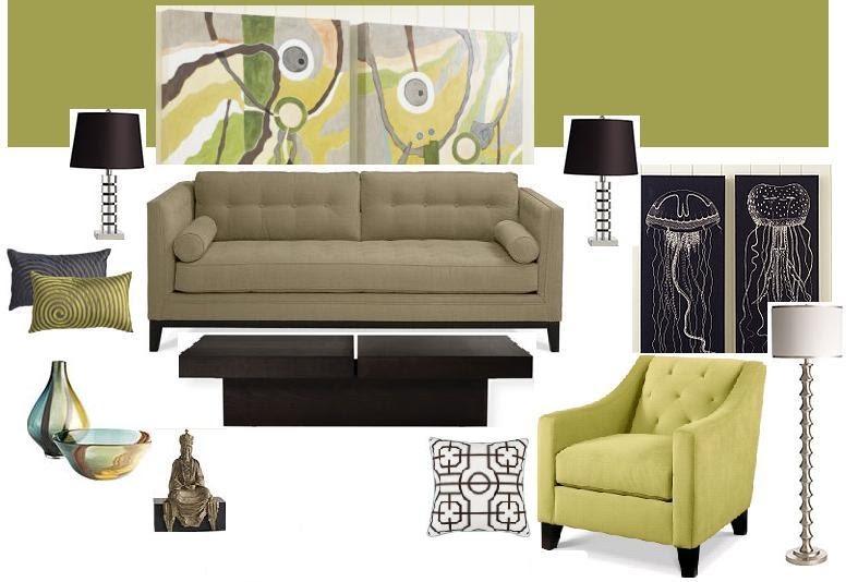 Joy Of Decor Room Design Idea Green Walls Taupe Sofa