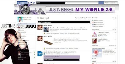 facebook skin layout - theme for facebook with Justin Bieber 2
