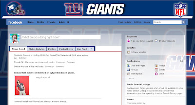 facebook skin layout - theme for facebook with NFL NY Giants