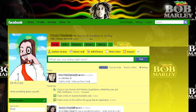 facebook skin layout - theme for facebook with Bob Marley Reggae