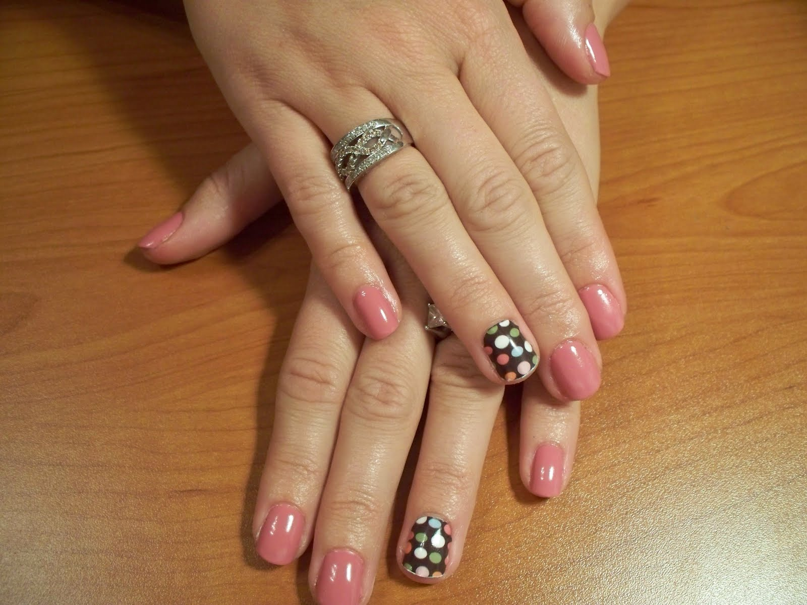 Chocolate with sprinkles SheeKee and Rosebud Shellac manicure