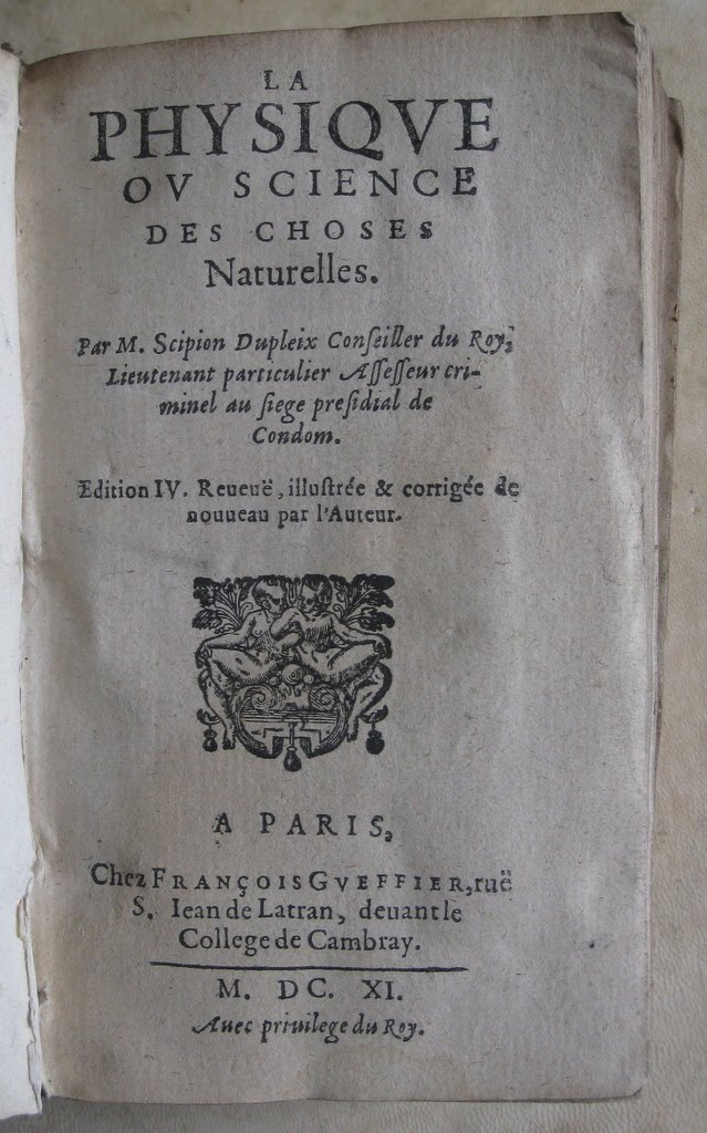 bibliophilie sciences Scipion Dupleix