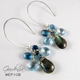 Gardenia Jewelryu0027s Popular Petal Earring In The Lake Color Combination.  Faceted Briolettes Of Labradorite, Blue Topaz, U0026 London Blue Topaz  Gemstones Are ...