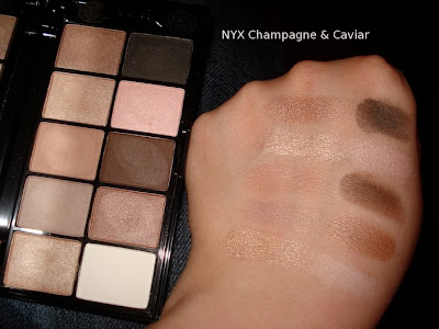 nyx champagne and caviar eyeshadow swatch