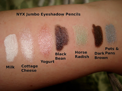 nyx jumbo eyeshadow pencils swatches