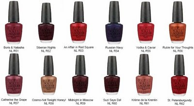 opi russian collection chart