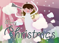 cute angel wishing merry christmas