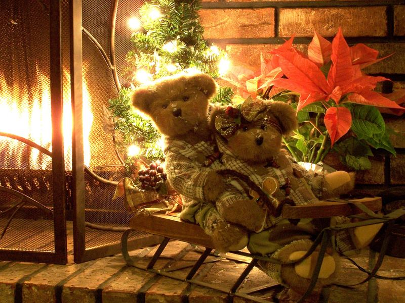 them any of these Christmas Teddy Bear Desktop Wallpapers as decorative