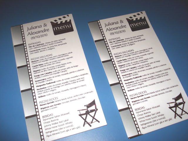 decoracao casamento tema cinema: Personalizado e Casamento Personalizado: Cardápios – Tema Cinema