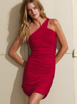 sexy red one shoulder summer dress 2010