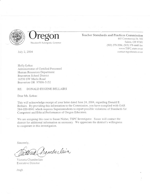 July 2004 letter from TPSC director to Lekas