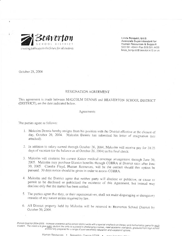 October 2004 secrecy agreement in forced resignation of Malcolm Dennis