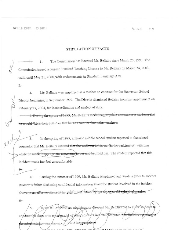 List of marked-up stipulations designed to deny teacher due process of law