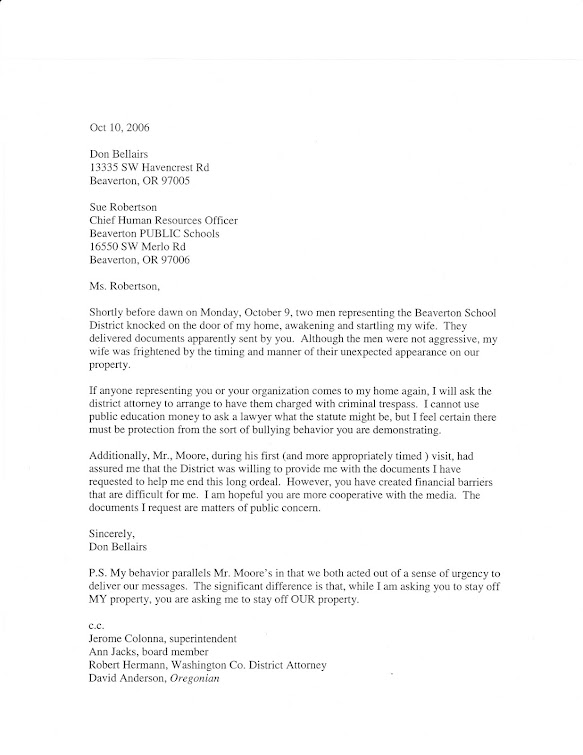 October 2006 response to new BSD HR director Sue Robertson