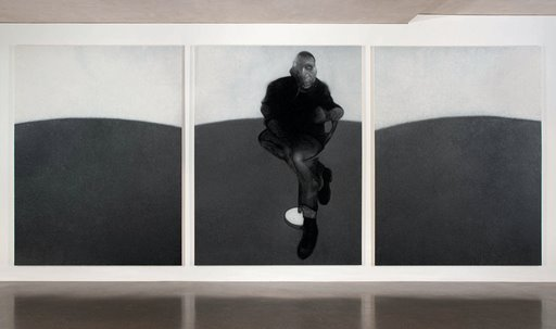 Rudolf Stingel painting a Francis Bacon triptych in his own way in 'Untitled' (2007)'