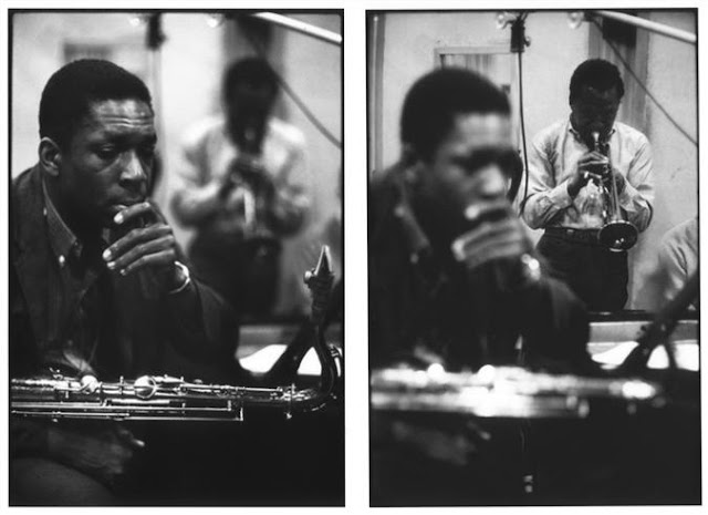 John Coltrane and Miles Davis in the studio, recording 'Kind of Blue'
