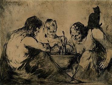 Tres brujas con gato