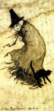 Arthur Rackham, Una bruja y su gato