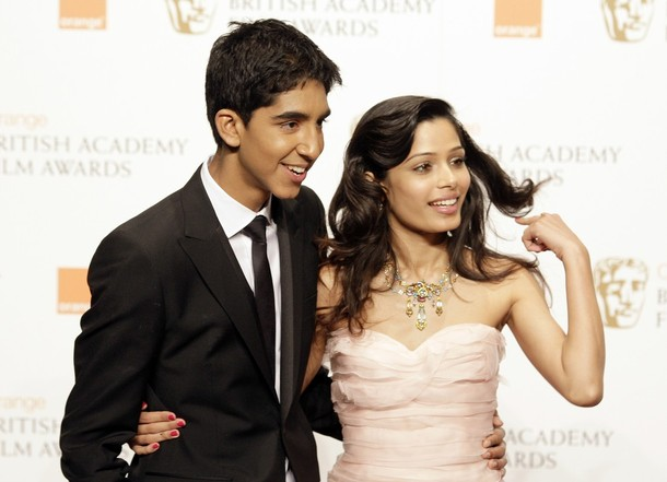 Freida Pinto Dev Patel BAFTA Red carpet