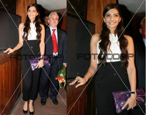 Sonam Kapoor purple balenciaga clutch russian film festival inaugration