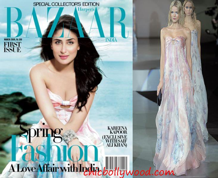 Harper's Bazaar India March 09 Inaugral Issue Kareena Kapoor Giorgio Armani Spring 09 maxi