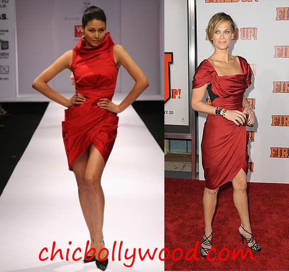 Gauri Nainika Fall 08 red dress Molly Sims Fired Up premiere Donna Karan