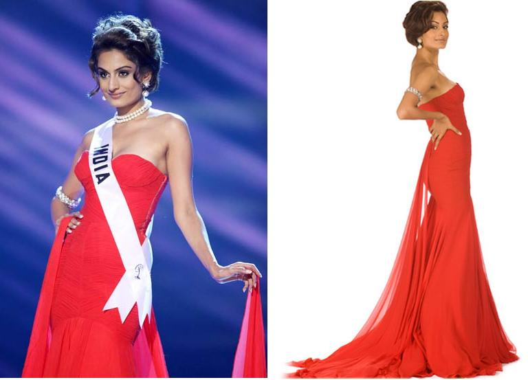 Ekta Chaudhary red gown Miss universe Gauri Nainika