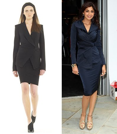 Shilpa Shetty Tiffinbites Restaurant London Donna Karan black skirt suit