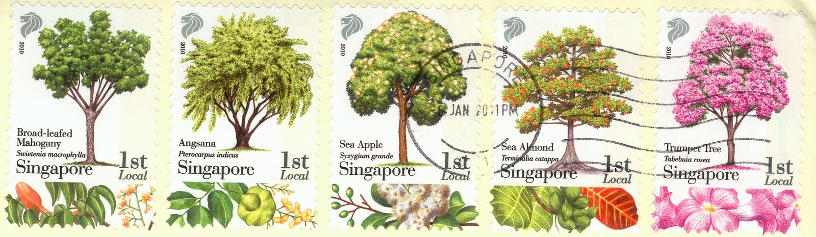 covers and stamps of the world cinq arbres de singapour five trees from singapore. Black Bedroom Furniture Sets. Home Design Ideas