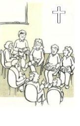 Ilustración de unos niños sentados en clase de catequesis