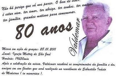 Eliel Bezerra 80 Anos De Seu Valdemar Cândido Ex Prefeito De