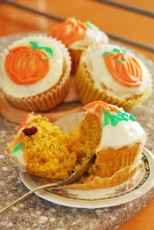Spiced Pumpkin Cranberry Cupcake