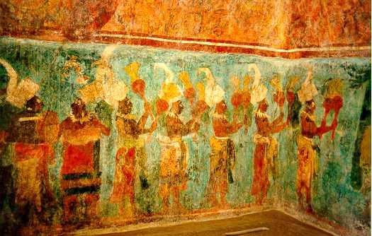 Art culture 104 presentation to a mayan ruler for Bonampak mural painting