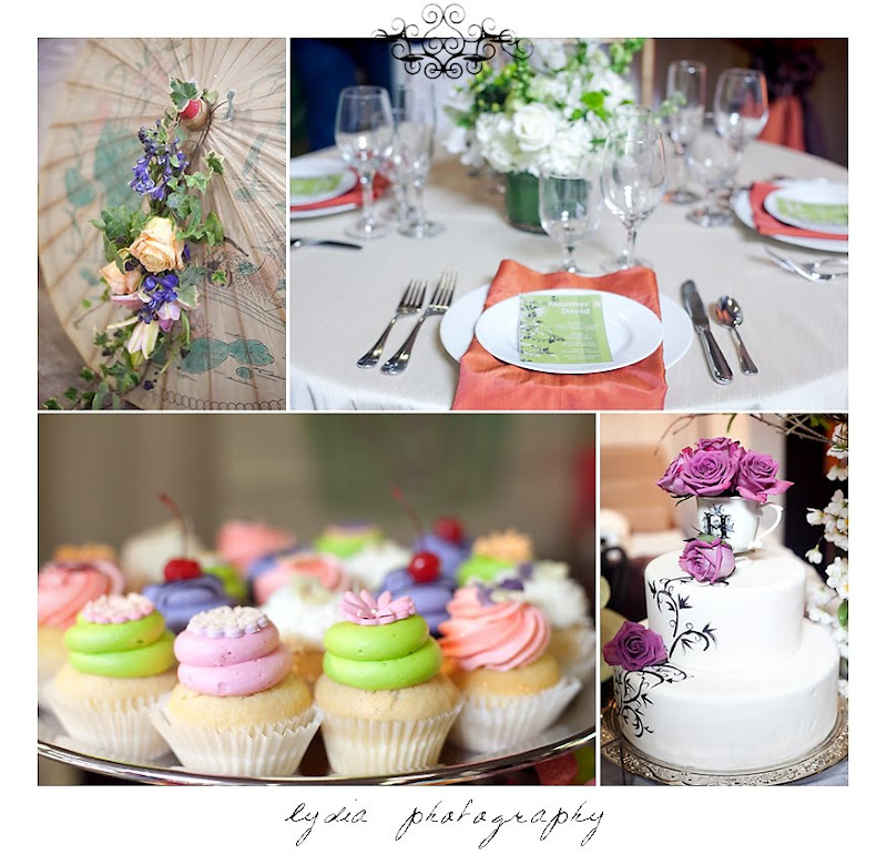 Flowers, table decor, cupcakes, and cake at the Santa Rosa Wedding Expo