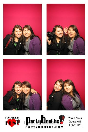 Lydia and Elizabeth posing it up in a photobooth at the Santa Rosa wedding expo