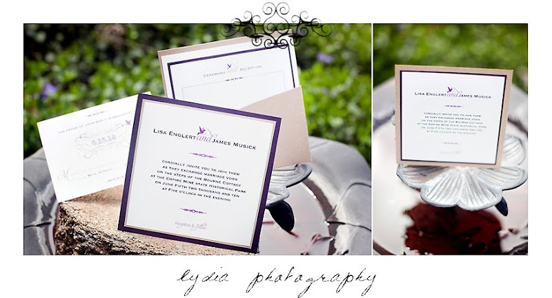 Eggplant and taupe colored invitation set showcased outdoors on a bird bath