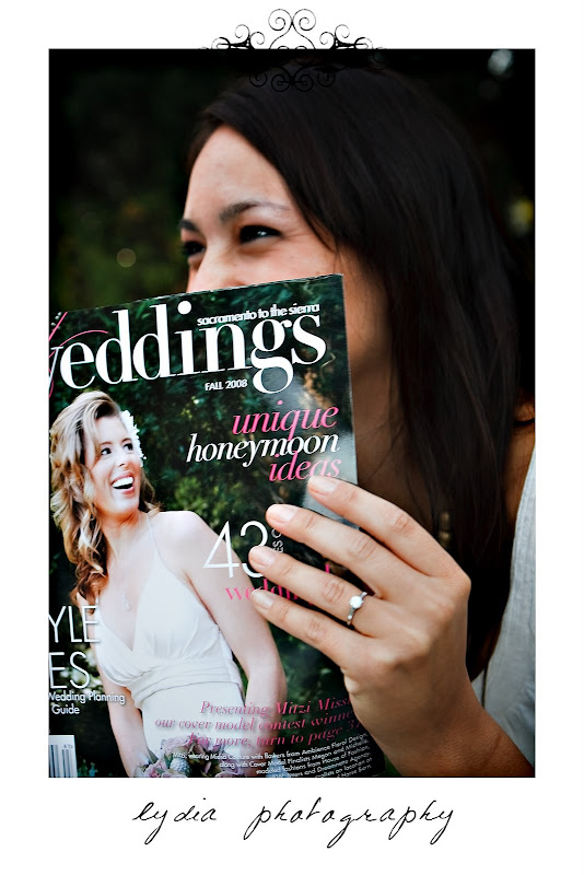 Bride looking at the magazine at lifestyle engagement portraits in Grass Valley, California