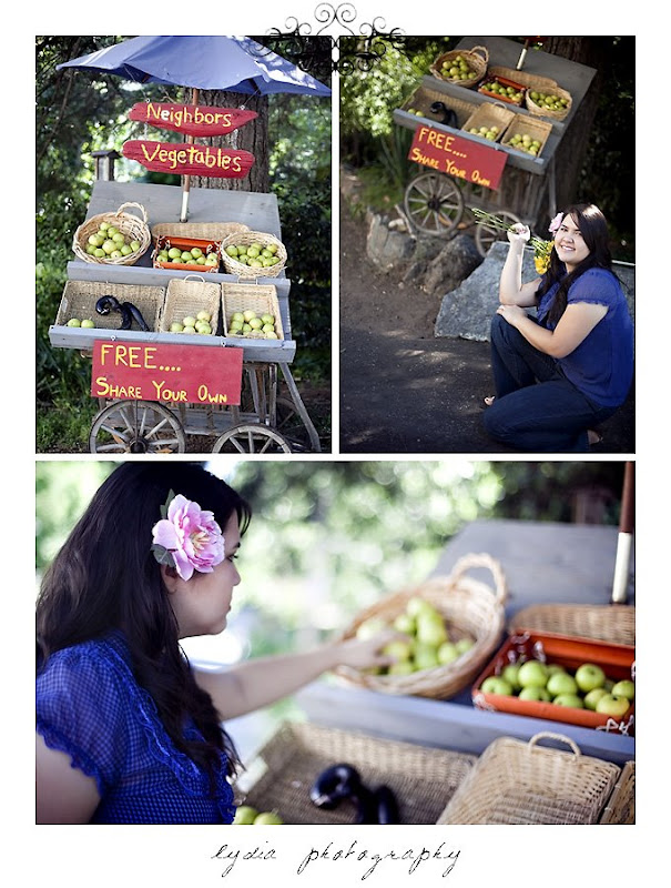 Elizabeth's senior portraits with a vegetable stand in Nevada City