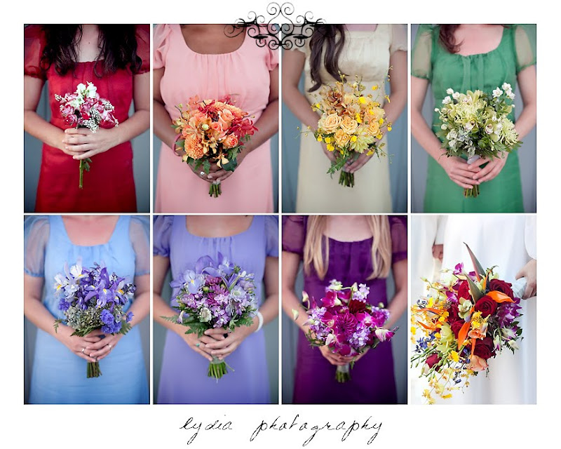 Picture of all the wedding bouquets in Santa Rosa California