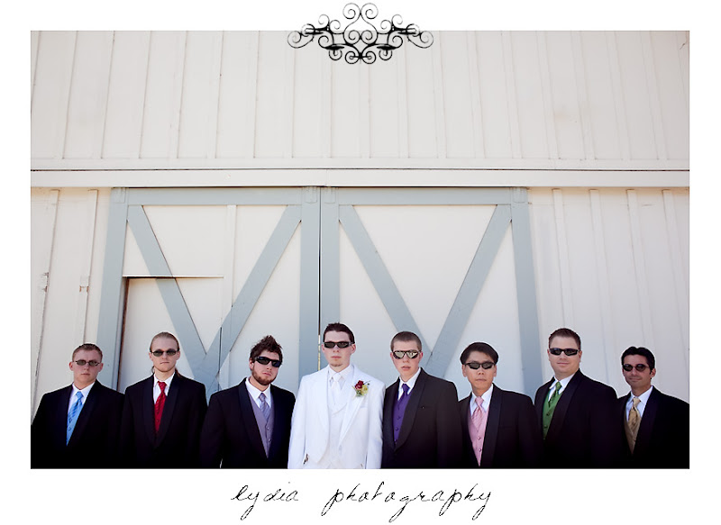 Jared and the groomsmen wearing sunglasses before the wedding in Santa Rosa California
